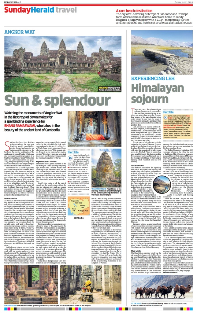 Himalayan Sojourns - Sunday Herald -  1st June 2014